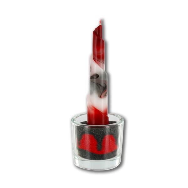 Rulo Kerze Deko Set 555 - rot/grau/weiß