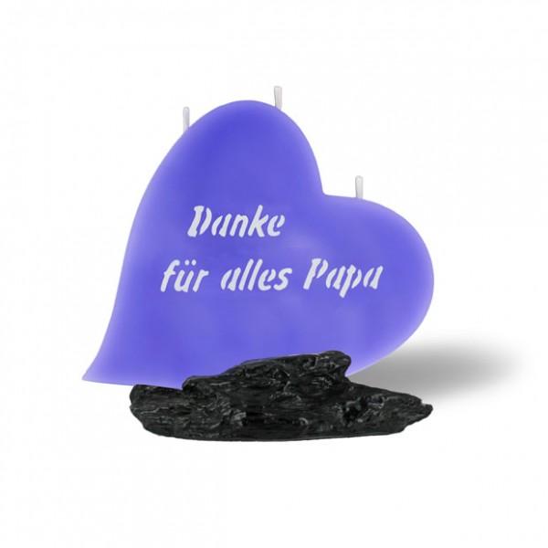 Herz Kerze 868 - Danke für alles Papa - lila -