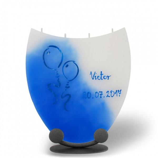 Amphore Kerze 849 - Name + Datum + Ballons - blau/weiß