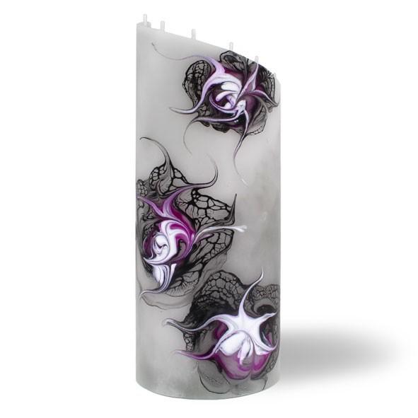 Zylinder Kerze groß 8 Dochte - grau/pink/weiß/schwarz
