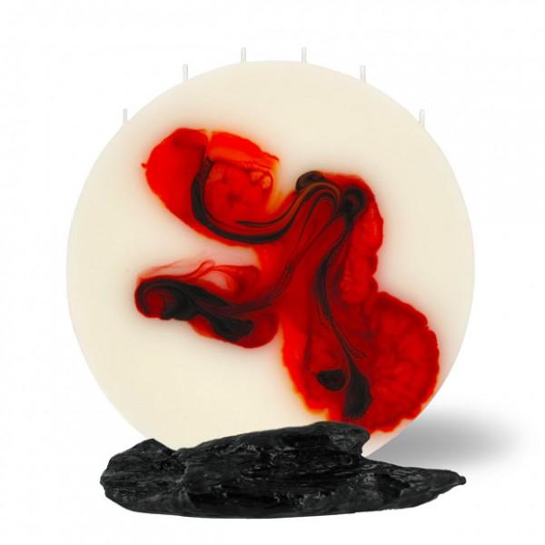 Mond Kerze groß 6 Dochte -  rot/orange/braun/creme