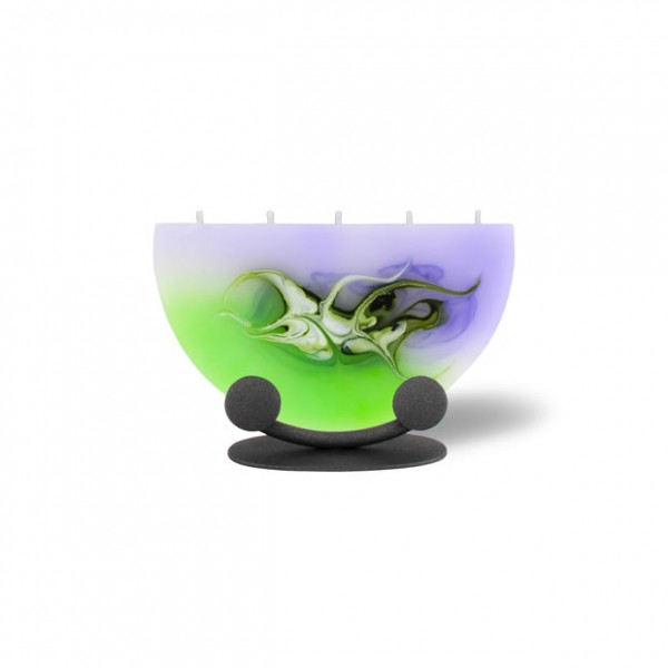 Halbmond Kerze mini mit Halterung 5 Dochte - lila/grün/weiß