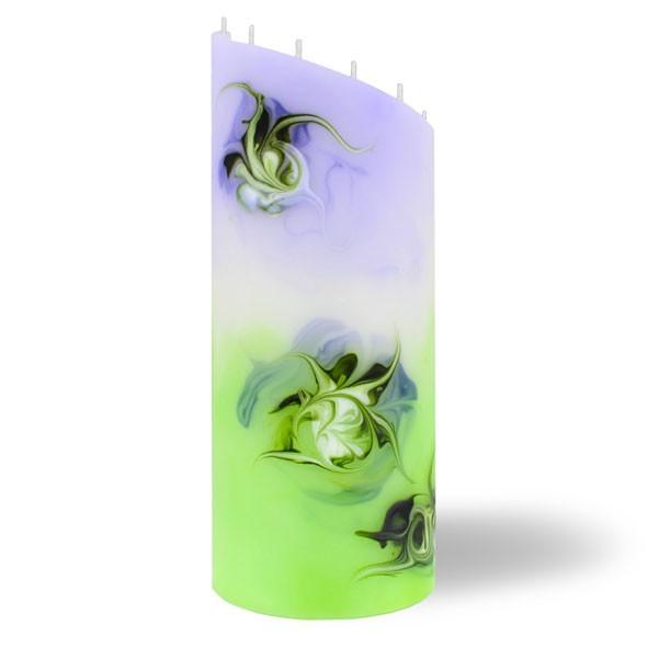 Zylinder Kerze groß 8 Dochte -  lila/grün/weiß