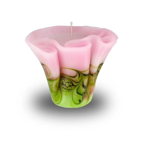 Flower Kerze -M- mit einem Docht -  hellrosa mit hellgrün