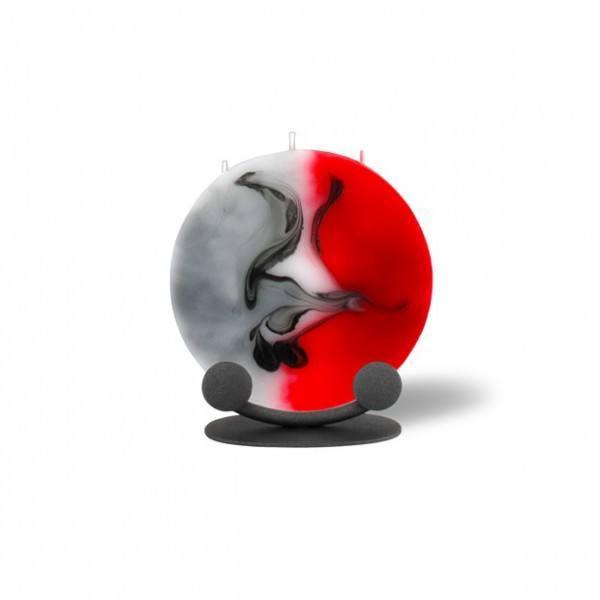Mond Kerze mini 555 Halterung - rot/grau/weiß