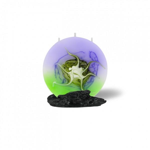 Mond Kerze mini 3 Dochte - lila/grün/weiß