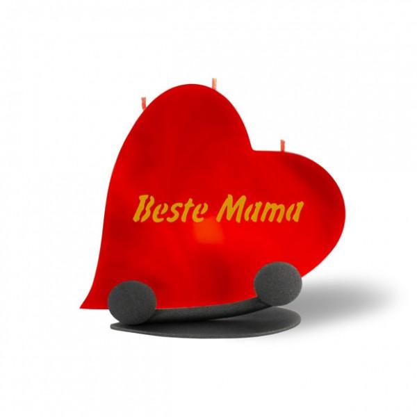 Herz Kerze 795 Halterung - Beste Mama - rot -