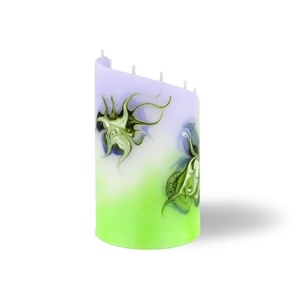 Zylinder Kerze klein 8 Dochte -  lila/grün/weiß