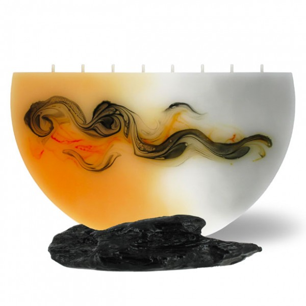 Halbmond Kerze groß 8 Dochte - orange/grau/weiß
