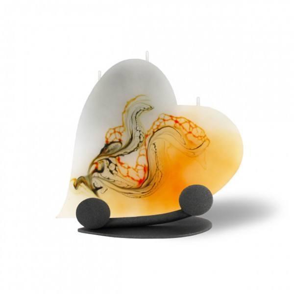 Herz Kerze mit Halterung und 3 Dochten - orange/grau/weiß