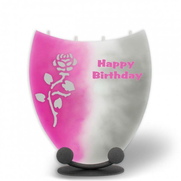 Amphore Kerze - Happy Birthday mit Rose