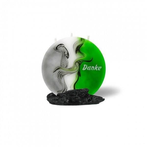 Mond Kerze mini 707 - 14 cm Ø - Danke - grün/weiß/grau -