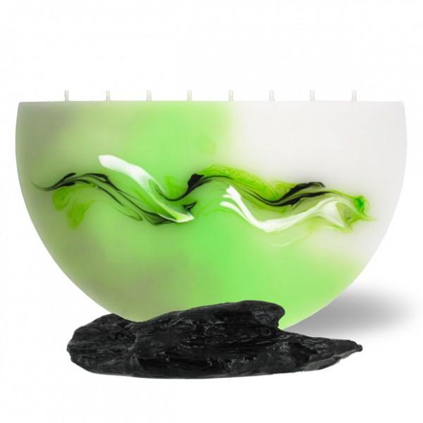 Halbmond Kerze groß 8 Dochte -  hellgrün mit grau untergemischt