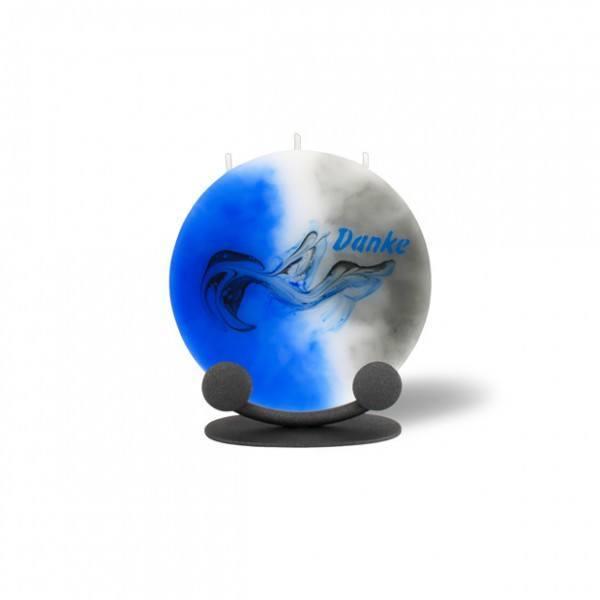 Mond Kerze mini 706 mit Halterung 14 cm Ø - Danke - grau/blau/weiß -