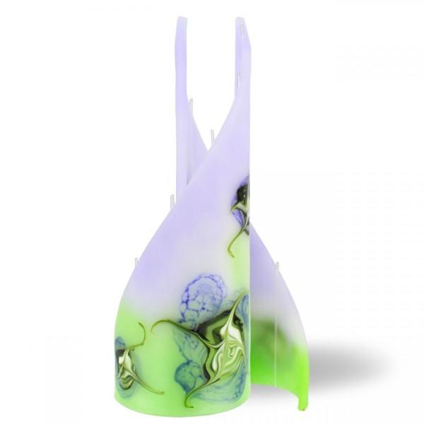 Segel Kerze groß 5 Dochte -  lila/grün/weiß