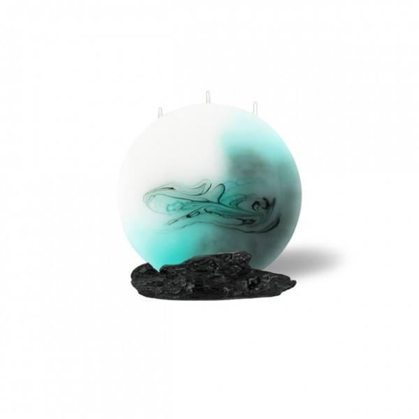 Mond Kerze mini 3 Dochte - grau/türkis/weiß