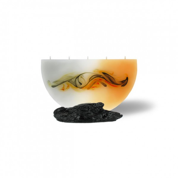 Halbmond Kerze mini 217 - orange/grau/weiß