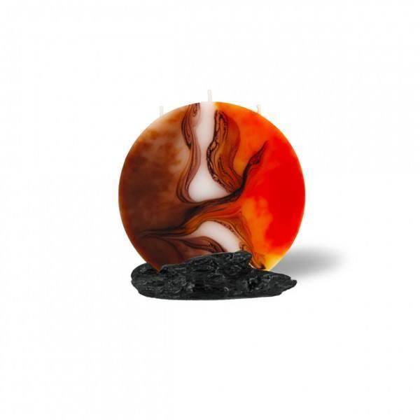 Mond Kerze mini 3 Dochte -  orange/weiß/Cappuccino