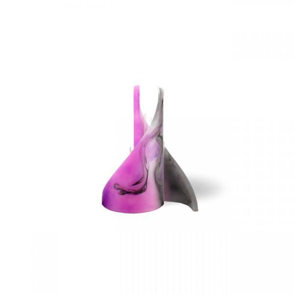 Segel Kerze mini 3 Dochte -  pink/grau/weiß