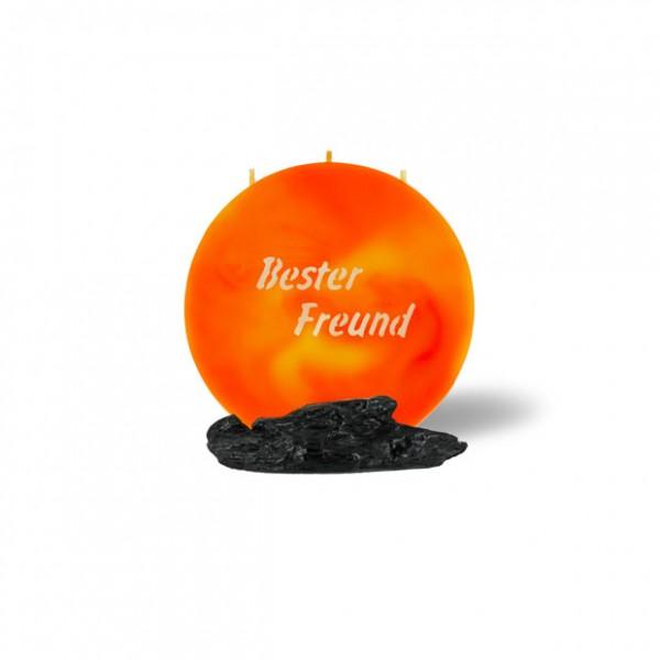 Mond Kerze mini 752 - 14 cm Ø - Bester Freund - orange/gelb