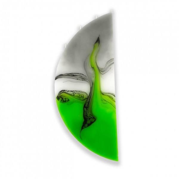 Viertelmond Kerze 601 ohne Halterung - grün/weiß/grau