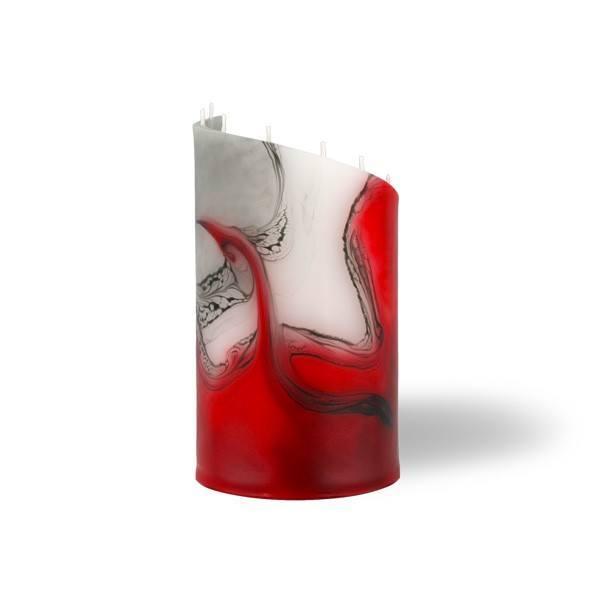 Zylinder Kerze klein 8 Dochte -  rot/grau/weiß