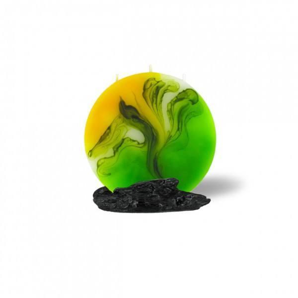 Mond Kerze mini 3 Dochte -  gelb/grün/weiß
