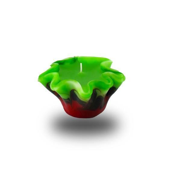 Flower Kerze -S- mit einem Docht - rot/weiß/grün