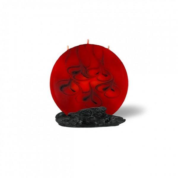 Mond Kerze mini 3 Dochte - rot/braun/orange