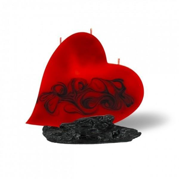 Herz Kerze mit 3 Dochtenß - rot/braun/orange