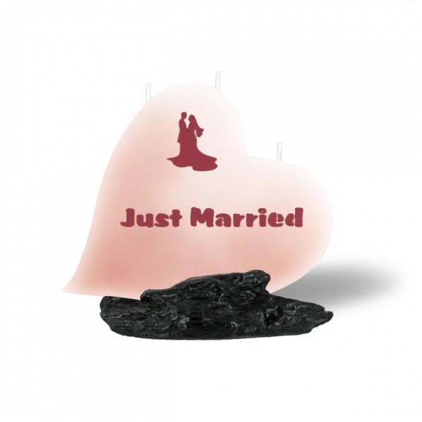 Herz Kerze - Just Married