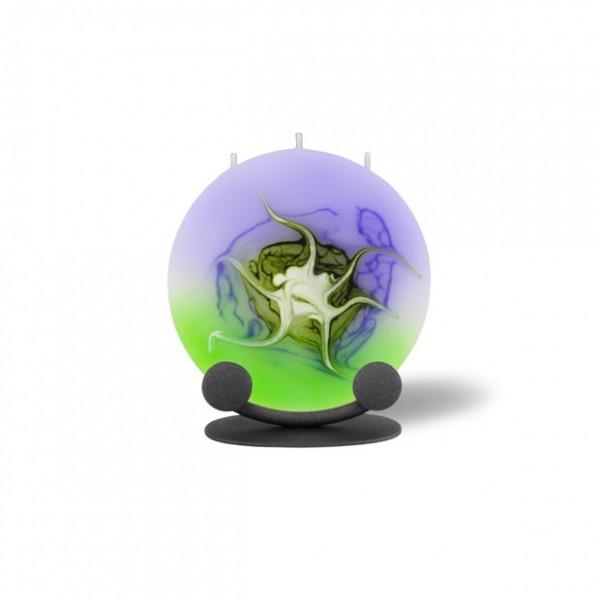 Mond Kerze mini mit Halterung 3 Dochte - lila/grün/weiß