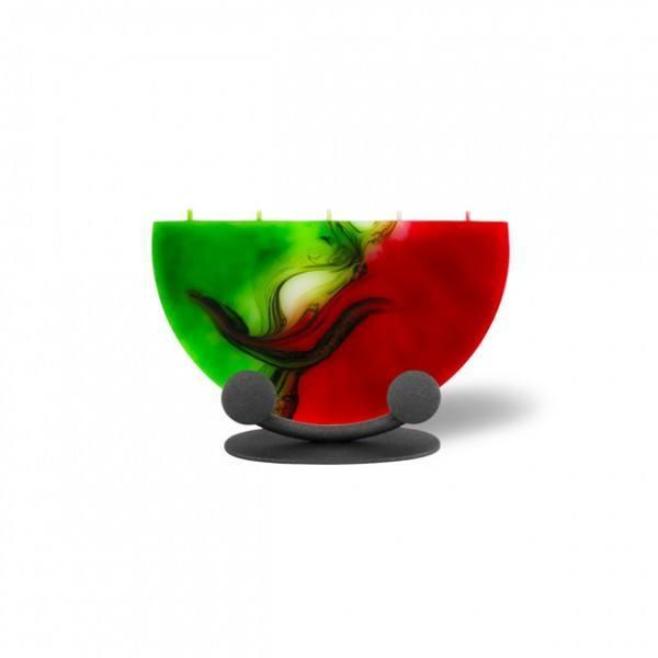 Halbmond Kerze mini 5 Dochte mit Halterung - rot/weiß/grün