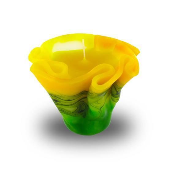 Flower Kerze -M- mit einem Docht -  gelb/grün/weiß