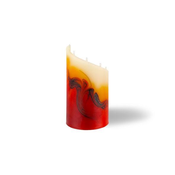 Zylinder Kerze mini 5 Dochte - rot/orange/braun/creme