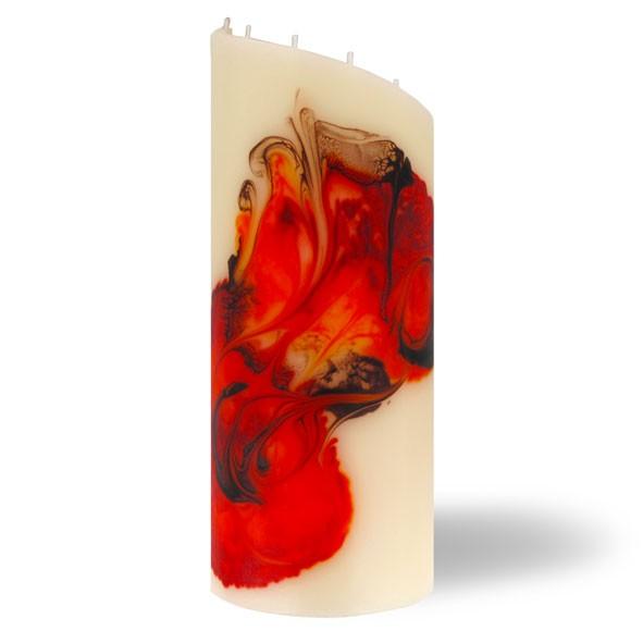 Zylinder Kerze groß 8 Dochte -  rot/orange/braun/creme