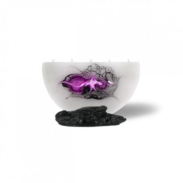 Halbmond Kerze mini 5 Dochte - grau/pink/weiß/schwarz