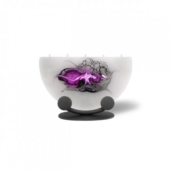 Halbmond Kerze mini mit Halterung 5 Dochte - grau/pink/weiß/schwarz