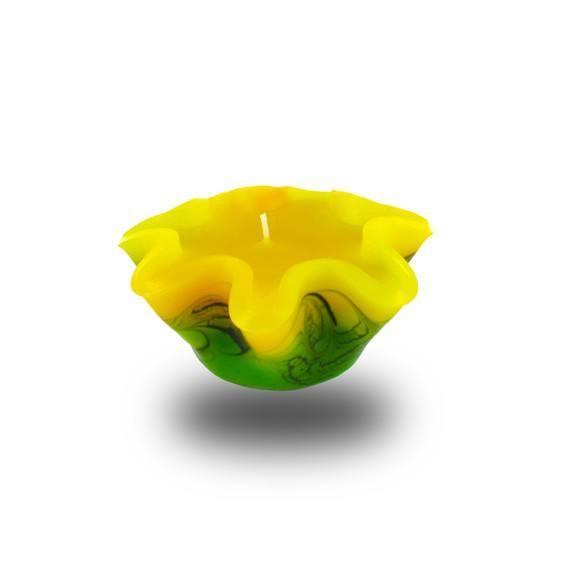 Flower Kerze -S- mit einem Docht -  gelb/grün/weiß