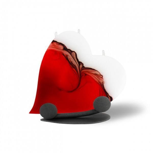Herz Kerze 333 Halterung - rot/braun/weiß