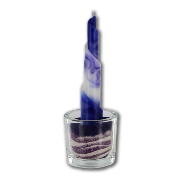 Rulo Deko Set mit Glas und Sand -  blau/lila/weiß