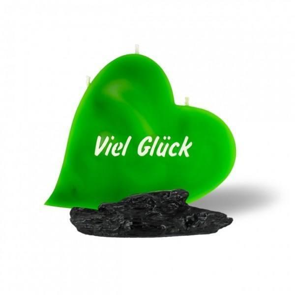 Herz Kerze 730 - Viel Glück - grün -