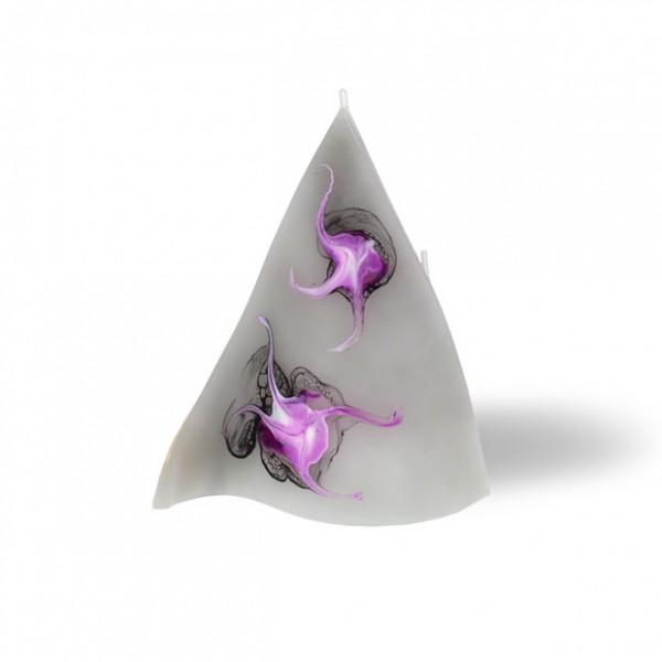 Triangel Kerze 3 Dochte - grau/pink/weiß/schwarz