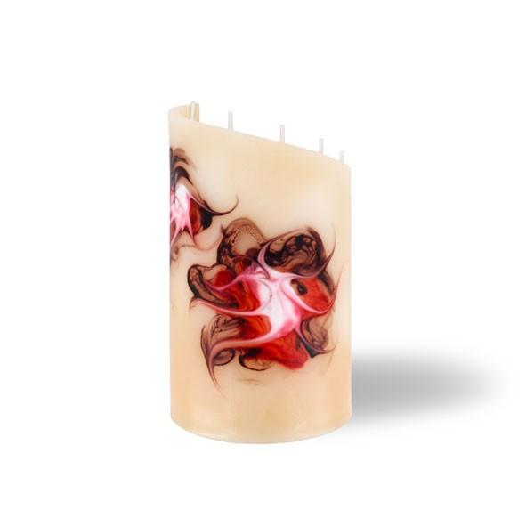 Zylinder Kerze - klein - cappuccino/rot/braun/weiß