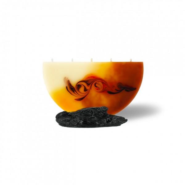 Halbmond Kerze mini 5 Dochte -  cappuccino/hellorange/braun/creme
