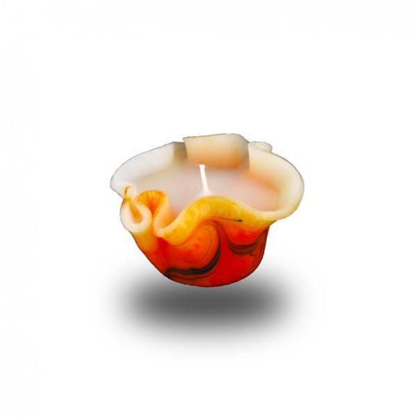Flower Kerze -S- mit einem Docht  - orange/olive/weiß