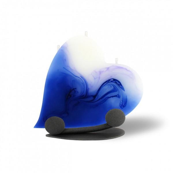 Herz Kerze mit Halterung und 3 Dochten -  blau/lila/weiß