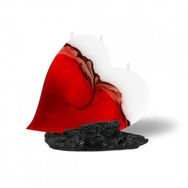 Herz Kerze mit 3 Dochten - rot/braun/weiß