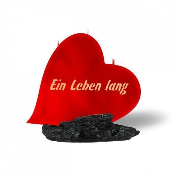 Herz Kerze 729 - Ein Leben lang - rot -