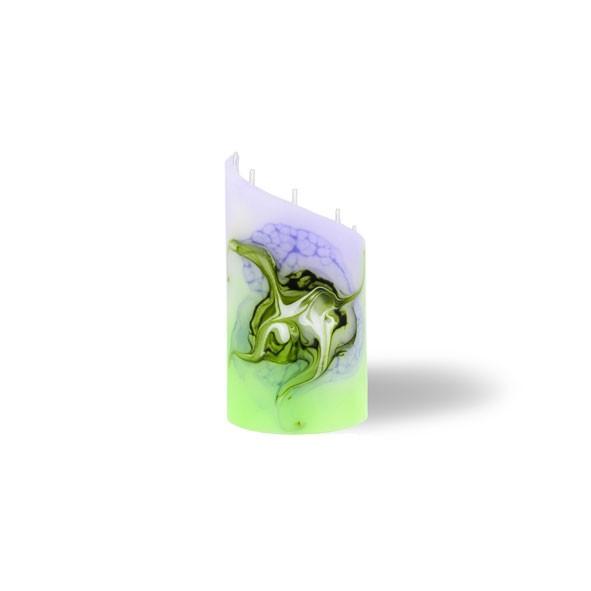 Zylinder Kerze mini 5 Dochte - lila/grün/weiß